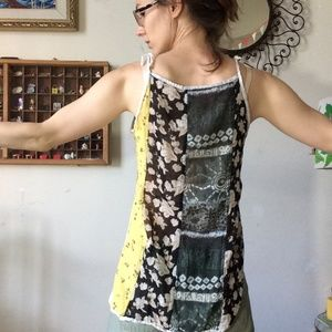 Vintage Tops - Sheer Patchwork Dyed Hippie Tank